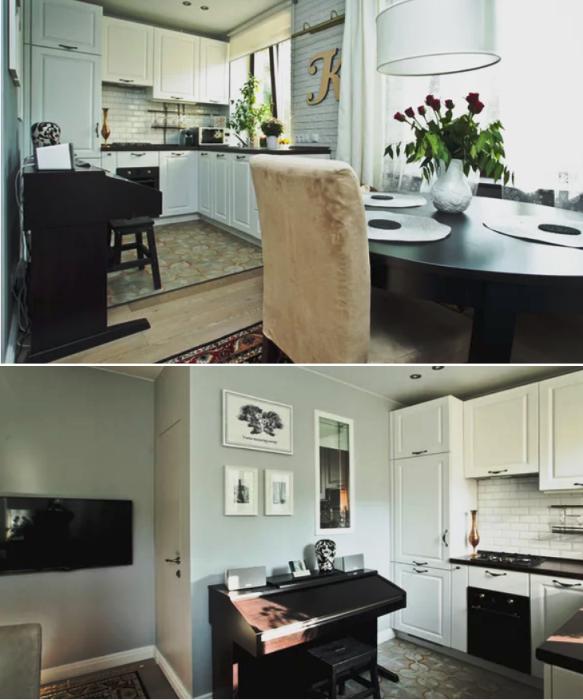 Объединенная кухня и гостиная станет идеальным вариантом для небольшой семьи (проект Buro Brainstoorm, Москва). | Фото: houzz.ru.