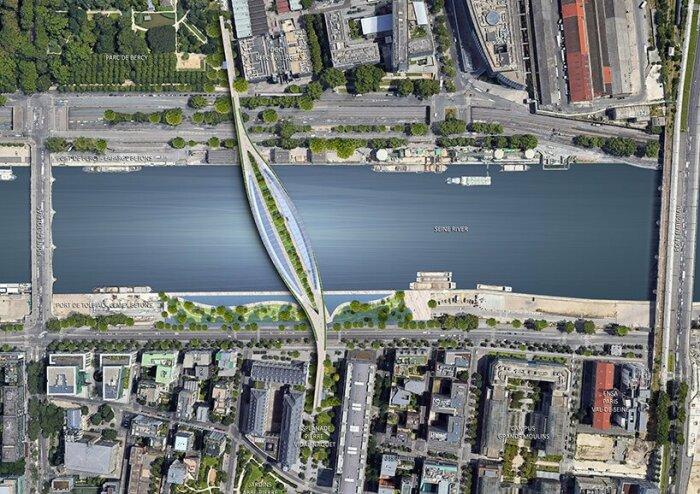 Конструктивно пешеходный мост Green Line похож на скелет рыбы (концепт Vincent Callebaut Architectures). | Фото: designboom.com.