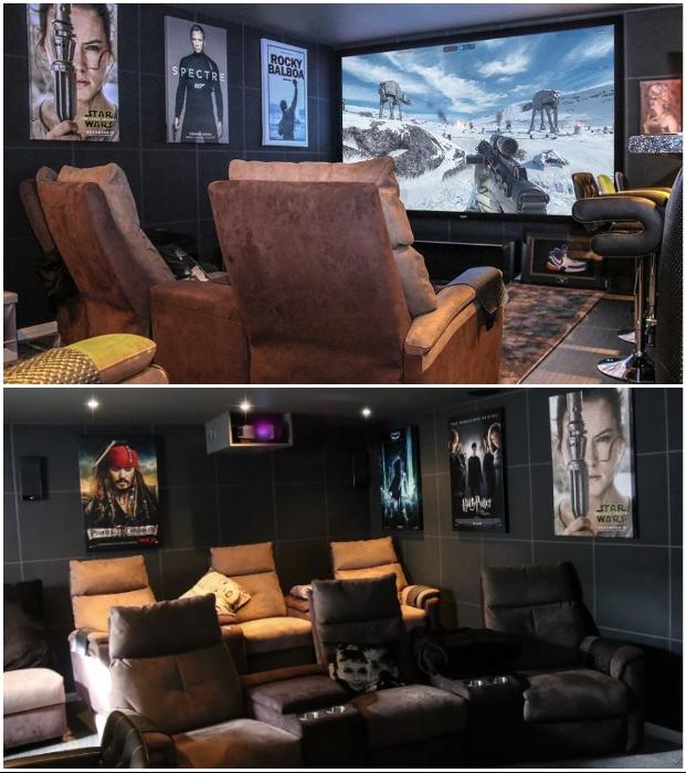Обычный гараж креативный владелец превратил в превосходный домашний кинотеатр (Эссекс, Великобритания).