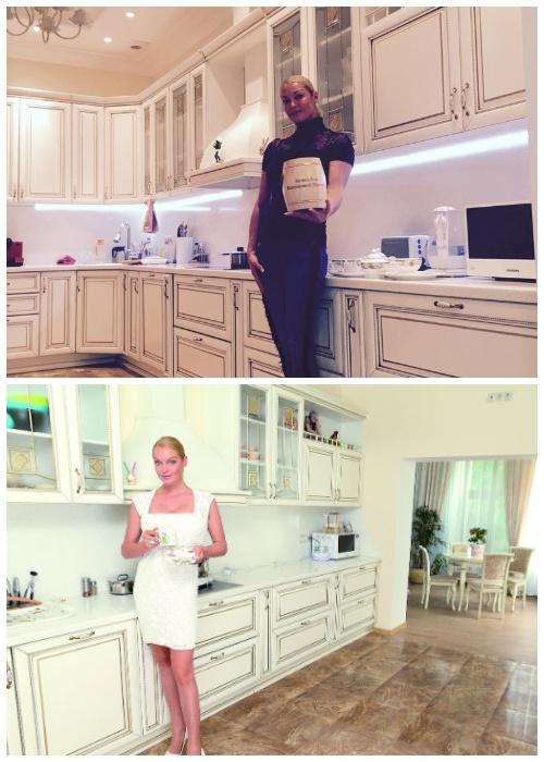 Анастасия Волочкова в своей кухне.