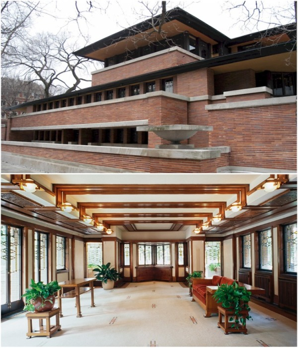 Множество горизонтальных линий вызывают ассоциации с прериями (The Frederick C. Robie House). | Фото: openhousechicago.org.