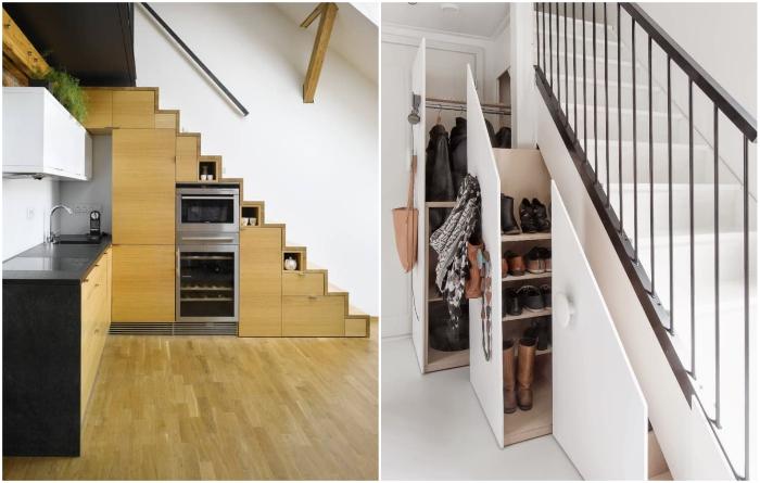 С боковой стороны лестничного марша можно спрятать все, вплоть до встроенной бытовой техники. | Фото: apartmenttherapy.com.