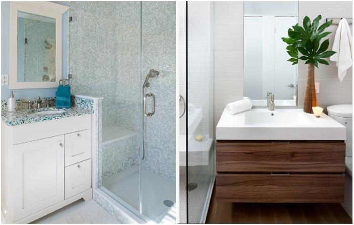 Когда ванная комната совсем крошечная, разумней будет установить душевую кабину. | Фото: remontbp.com.