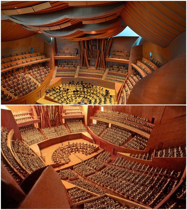 Интерьер концертного зала Уолта Диснея в Лос-Анджелесе под стать фантастическим формам экстерьера.