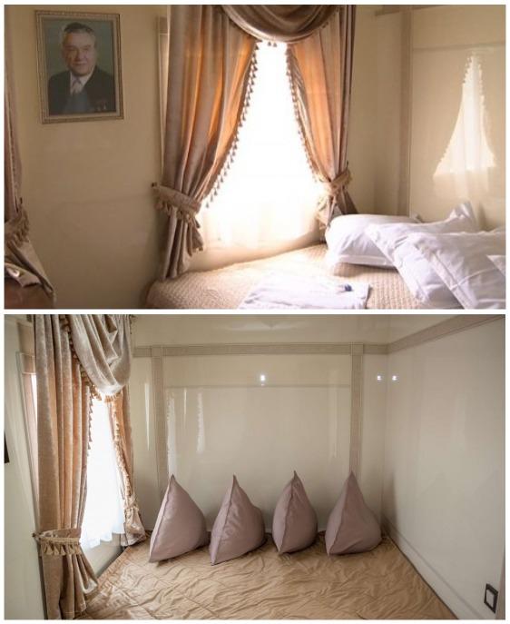 Апартаменты с двухспальной кроватью имеют свой вход в ванную комнату («Туран экспресс», гранд-вагон).   Фото: b-picture.livejournal.com.