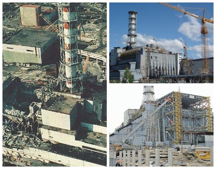 Взрыв на ЧАЭС стал причиной строительства стального укрытия «Саркофаг» (Чернобыль, Украина). | Фото: ura-inform.com.