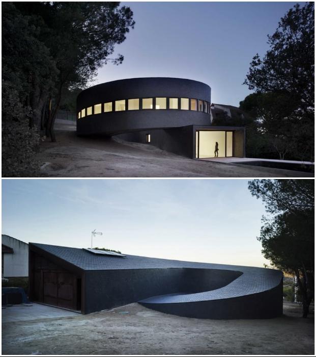 Круглый дом с разворотом на 360 градусов гармонично вписался в лесной пейзаж пригорода Мадрида (Испания).