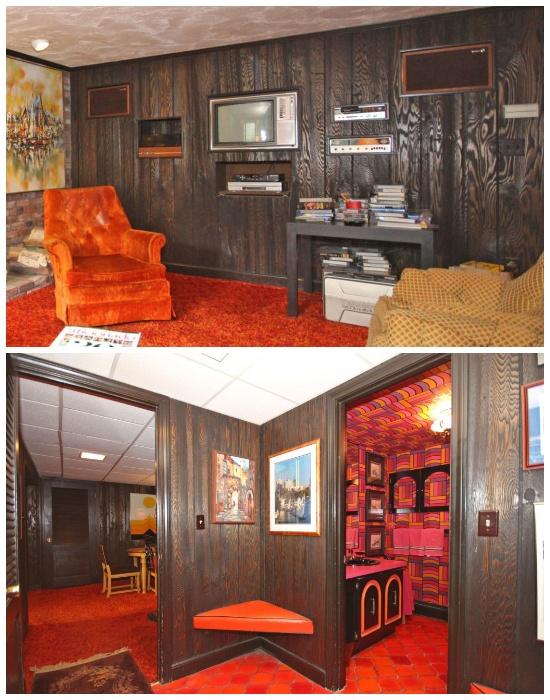 В доме с ретро-интерьером стены и потолки облицованы деревянными панелями. | Фото: travelandleisure.com.