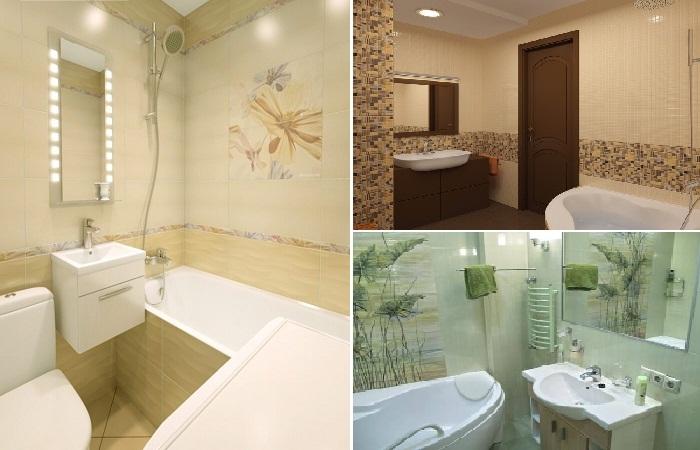 Интересные варианты использования керамической плитки в ванной.