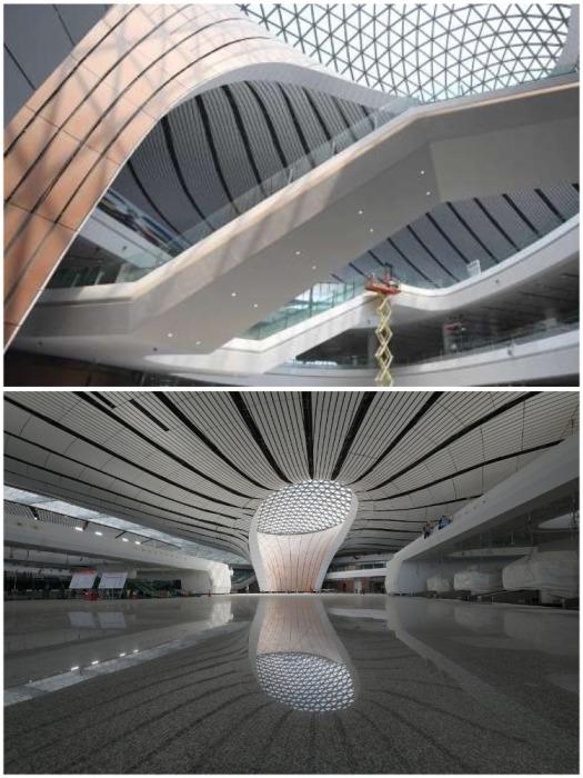 Каждое «крыло» золотого сфинкса имеет 4 этажа (аэропорт «Дасин», Пекин). | Фото: russian.people.com.cn.