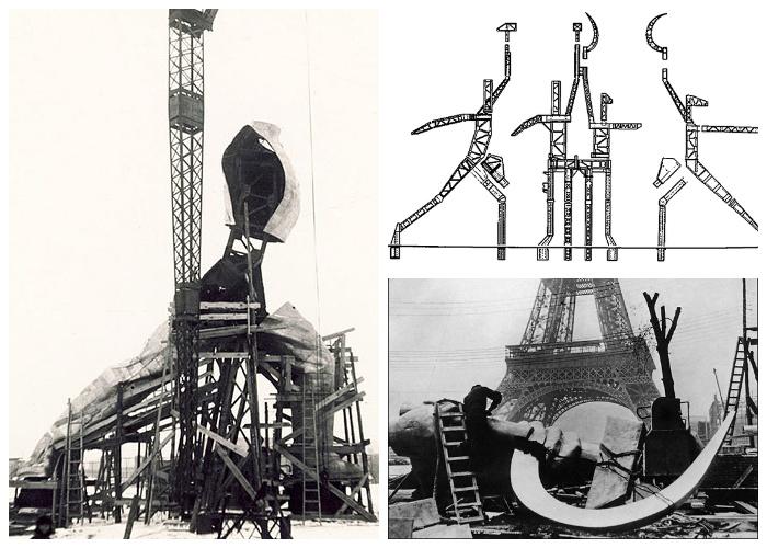 Все детали монумента закреплялись с помощью точечной сварки на металлическом каркасе (Монумент «Рабочий и колхозница»).
