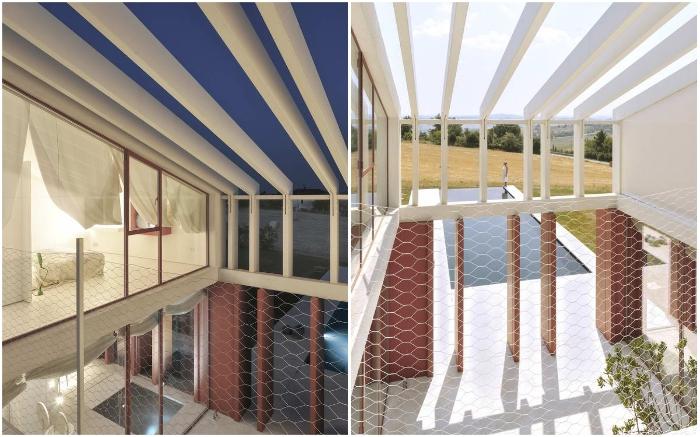 Проемы в конструкции дома помогли организовать открытые зоны отдыха (Border Crossing House, Италия).