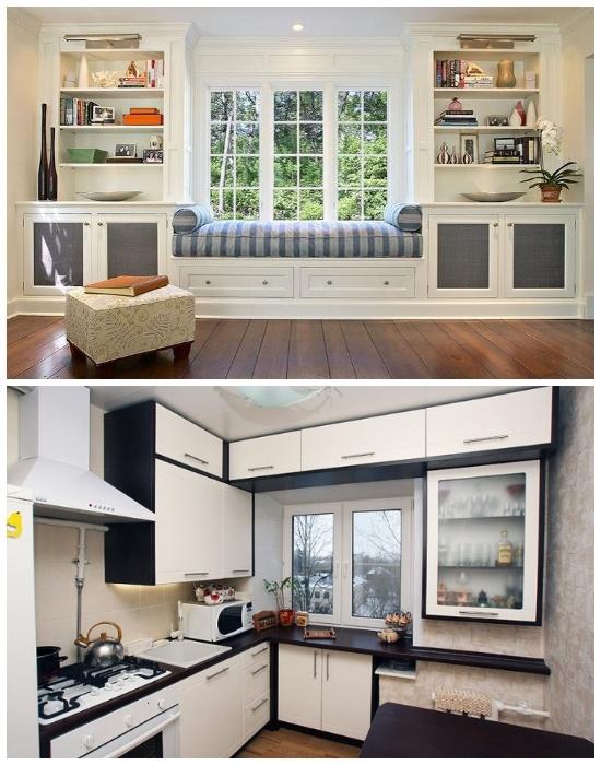 Мебельные системы можно устанавливать вокруг окна. | Фото: stroy-podskazka.ru.