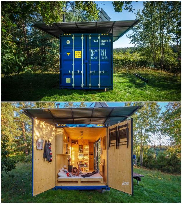 Распашные двери на торце контейнерного домика Gaia.