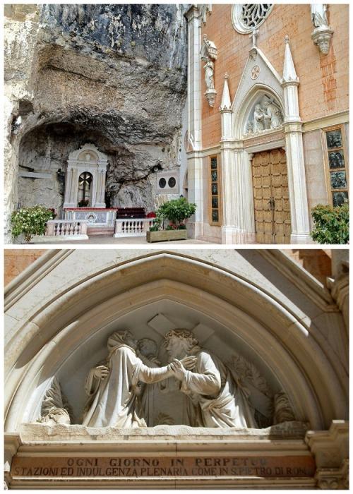 Фасад украшен мрамором,  статуями и барельефами (Santuario Madonna della Corona). | Фото: etotam.com.