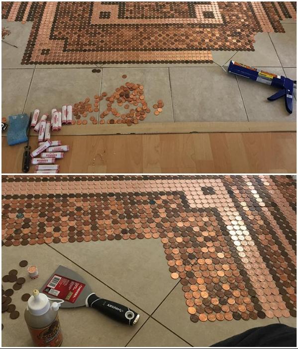 Для создания мозаики из монет достаточно будет иметь копейки, герметик и минимальный набор инструментов. | Фото: lifter.com.ua/ facebook.com, © Camias Jewelry Designs.