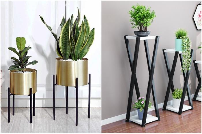 Напольные стойки для цветов нужно выбирать с расчетом роста комнатного растения. | Фото: nazya.com.