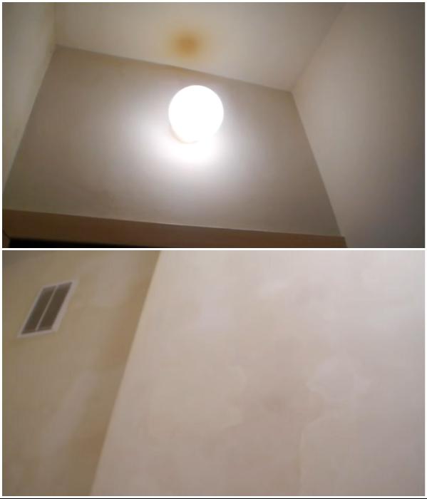 После того как затопили соседи туалет был в плачевном состоянии. | Фото: youtube.com/ © Екатерина Басми.