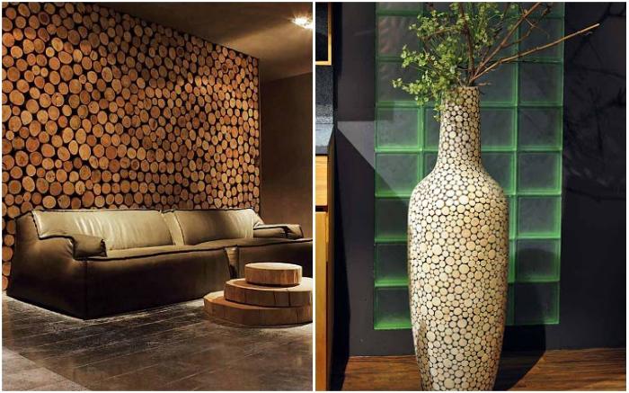 Деревянные срезы прекрасно смотрятся и на стене, и на огромной напольной вазе. | Фото: cpykami.ru/ poweredhouse.ru.