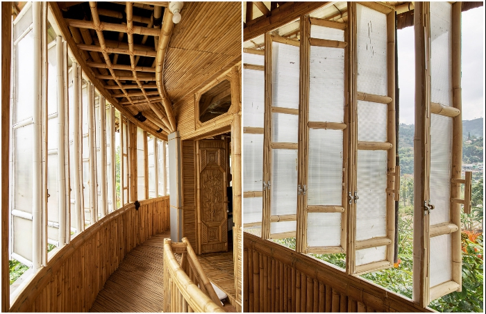 Даже рамы и защелки для окон сделаны из бамбука (Piyandeling, Индонезия).