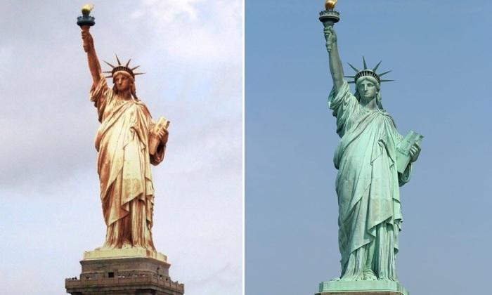Как время и окружающая среда повлияла на внешний вид Статуи Свободы. | Фото: micccp.com.
