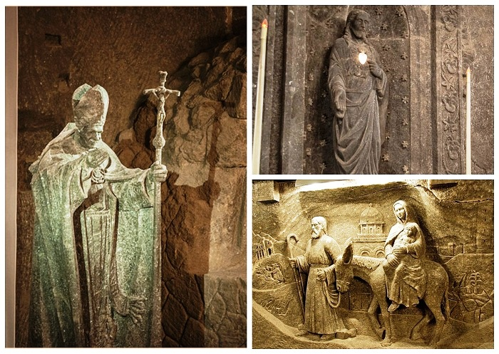 Большое количество соляных фигур украшают подземный город.