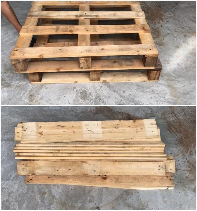 Строительные поддоны/ ящики сначала полностью разбирают. | Фото: youtube.com/ © Woodworking Tools.
