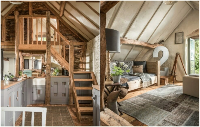 В комнату отдыха, расположенную на втором ярусе, ведет деревянная лестница, сделанная в духе средневековья («Wishbone Cottage»). | Фото: planetapl.life.