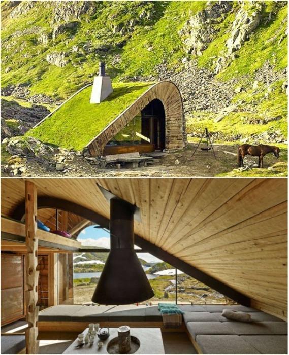 Лесной домик Hunting Lodge на краю фьорда Акрафьорден (Норвегия). | Фото: zeleneet.com.