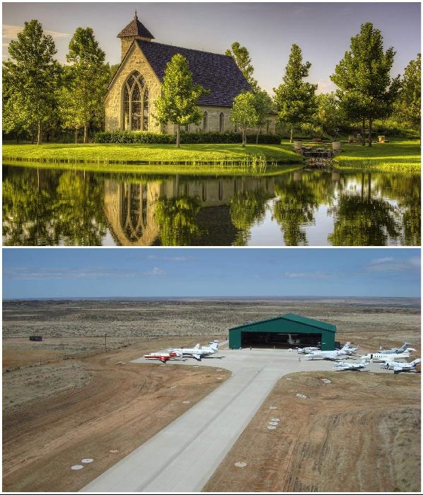 На территории ранчо есть собственная часовня и частный аэродром. | Фото: click2houston.com.