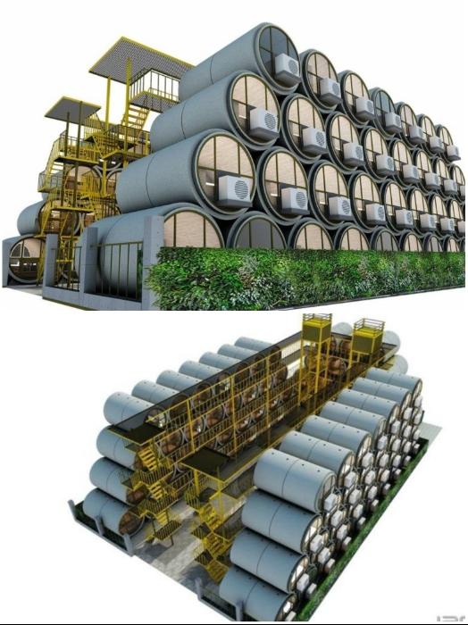 Из микродомов можно делать многоквартирные комплексы (OPod Tube House, Гонконг). | Фото: realt.onliner.by.