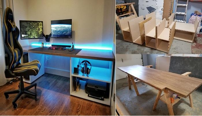 Офисную мебель он сделал собственными руками.