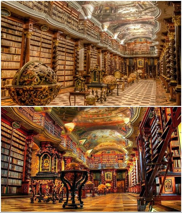 Фрески на потолке библиотеки написаны так, что создается впечатление, будто он купольный (Клементинум, Прага). | Фото: twinshotel.blogspot.com.