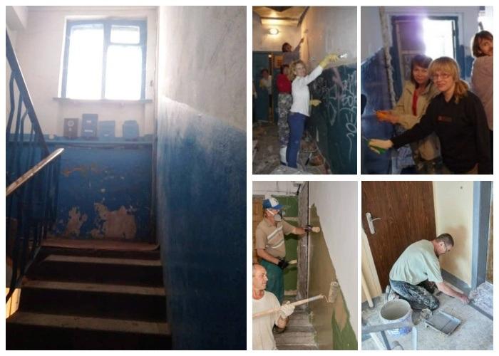 Жителям многоэтажки надоело жить в грязном старом подъезде и они взялись за дело.