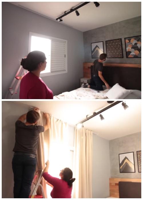 Картины и красивые шторы помогли преобразовать интерьер.