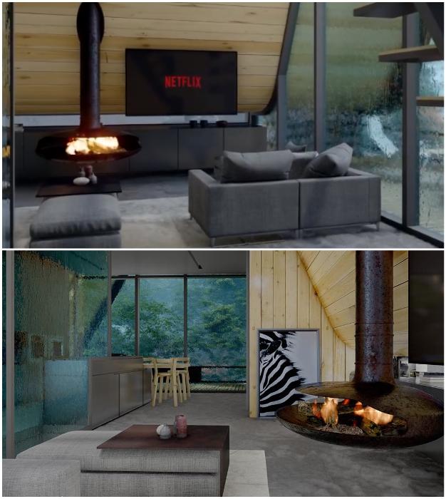 В гостиной установлена необычная дровяная печь, что позволяет отдыхать в домике даже в зимнюю пору.