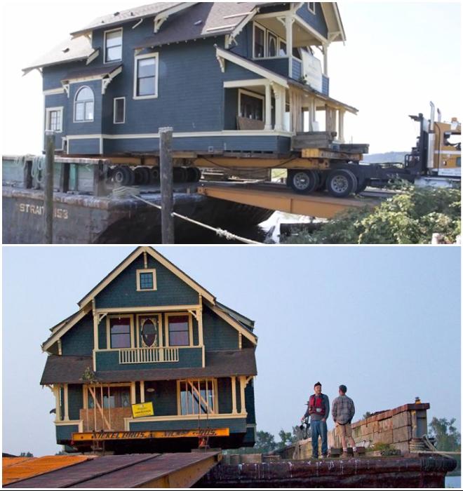 Срезанный с фундамента дом был помещен на платформу тягача и доставлен в порт Ричмонда (Британская Колумбия). © Nickel Bros.