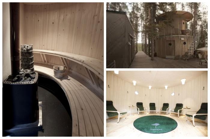 Поскольку ванных и душевых в большинстве номеров нет, то все водные процедуры можно принимать в домике-сауне (отель Treehotel, Швеция). | Фото: bigpicture.ru.