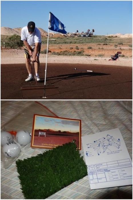 Над поверхностью оборудовали экстремальное поле для гольфа, где для игры выдают необычные приспособления (Кубер-Педи, Австралия). | Фото: ru.wikipedia.org.