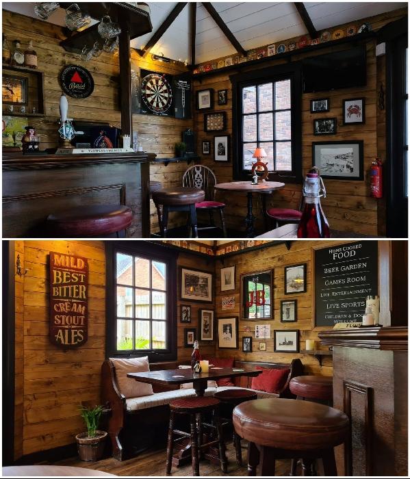 Внутри мини-паб, несмотря на небольшую площадь, выглядит как полноценное заведение («Drunken Crab», Великобритания). | Фото: facebook.com/ © Octavia Chic.