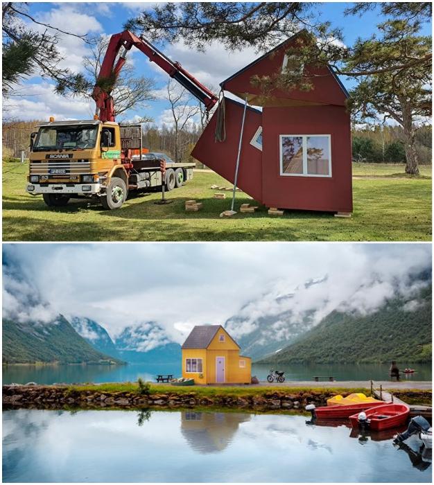 Трансформирующийся домик можно устанавливать в любом месте, главное, чтобы туда доехал грузовик с манипулятором (Brette Haus).