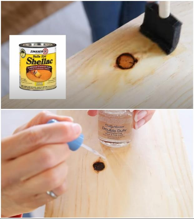 Все сучки нужно обработать лаком, чтобы не проступила со временем смола. | Фото: youtube.com © EngineerYourSpace.