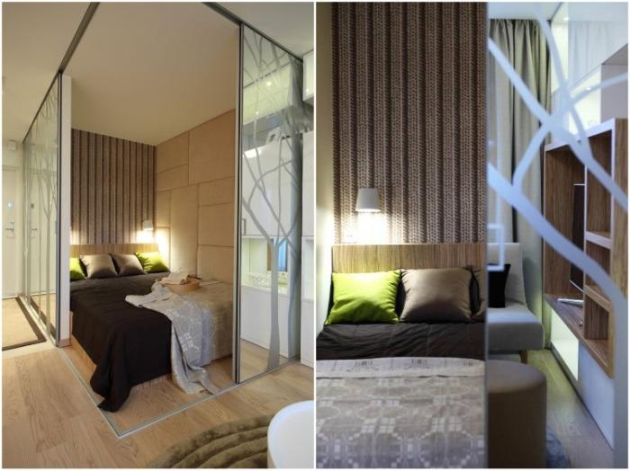Спальня получилась хоть и маленькой, но очень уютной. | Фото: interiorsmall.ru.