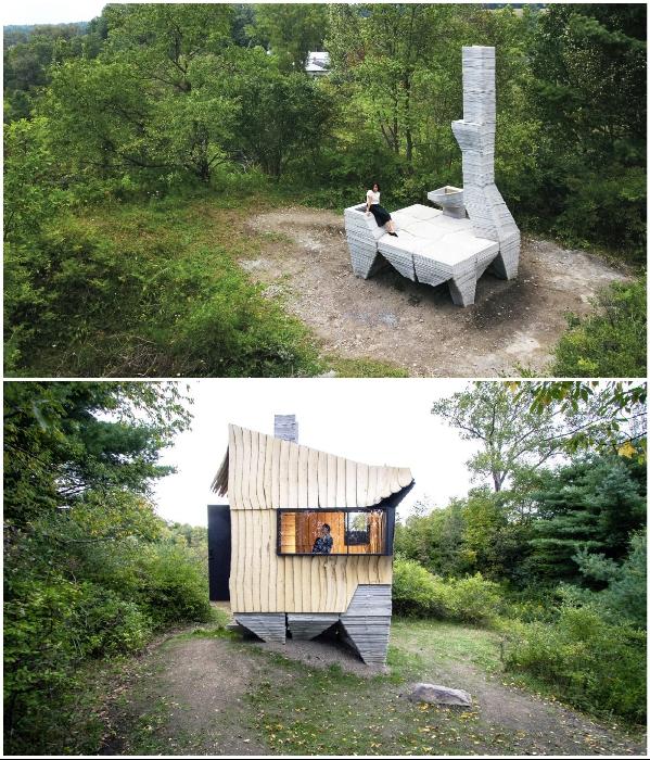 Используя 3D-принтер и автомобильный робот американские архитекторы создали дом из древесных отходов (Ashen Cabin, Итака). | Фото: newatlas.com/ inhabitat.com.
