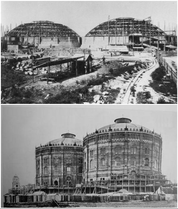 Самые крупные газгольдеры Европы были построены в районе Зиммеринг между 1896–1899 гг. (Вена, Австрия). | Фото: ru.esosedi.org/ berlogos.ru.