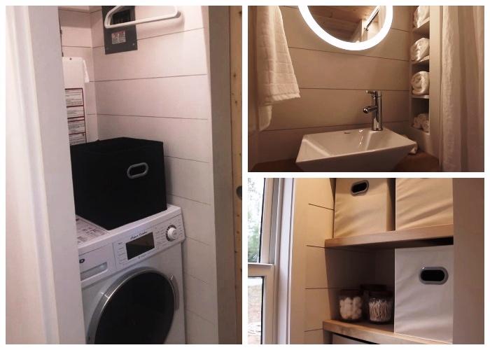 В доме-фургоне «Эльза» обустроили санузел, душ и установили стиральную машину. | Фото: youtube.com.