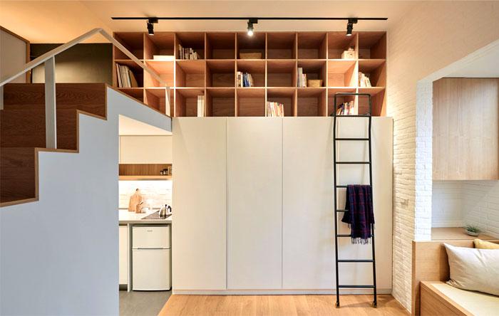 Благодаря двухъярусному расположению удалось создать полноценную квартиру.