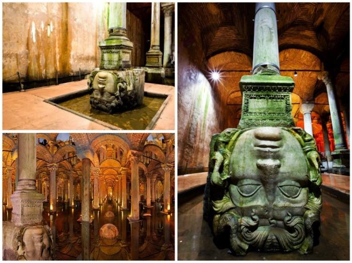 Окаменевшая Голова Медузы Горгоны привлекает всеобщее внимание (Basilica Cistern, Стамбул). | Фото: istanbul-turkey.ru.