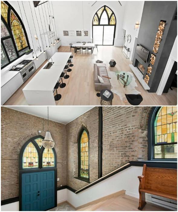 Эклектичный интерьер преображенной церкви в Чикаго вызывает восторг и восхищение (проект бюро Linc Thelen Design и Scrafano Architects, США).