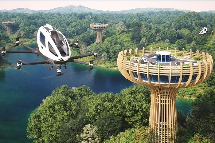 Аэровокзалы для нового вида транспорта будут расположены на высоте 30 м (концепт Vertiport Baobab). | Фото: interestingengineering.com.